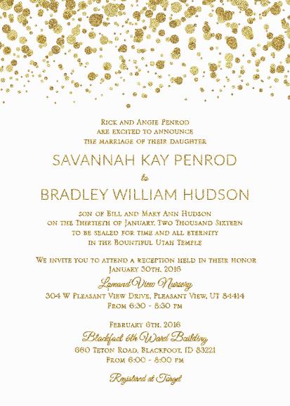 Savannah and Bradley 5x7 front wedding invites