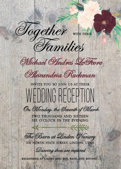 Michael and Alexandria 5x7 front wedding invitations