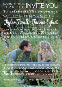 Kylee and Tanner 5x7 front Wedding inivtaitons