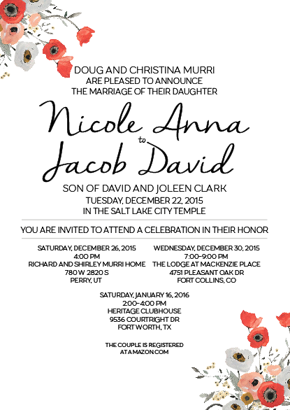Nicole and Jacob 5x7 front wedding invitations