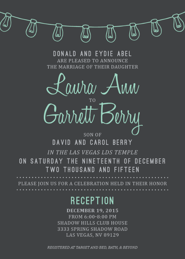 Laura and Garrett Front wedding announcements