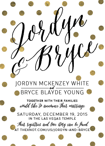 Jordyn and Bryce 5x7 front Wedding Invitations