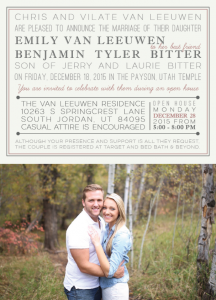 Emily and Ben front Wedding Invitations