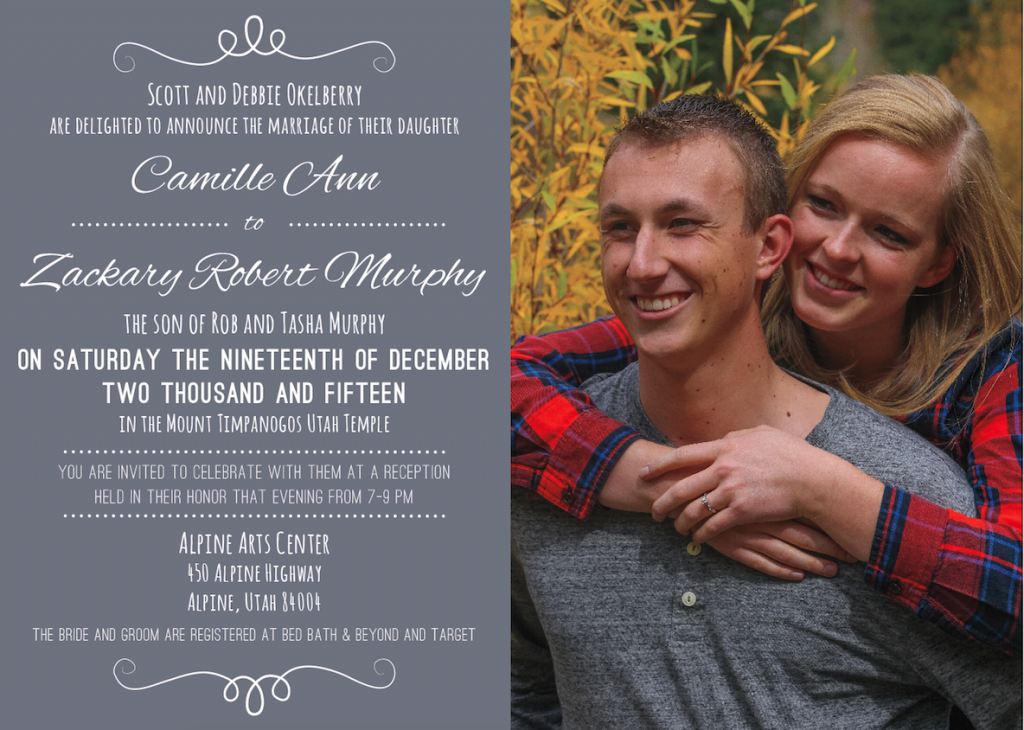 Camille and Zackary Front wedding invitations