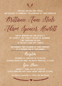 Brittanie and Adam 5x7 front wedding invites
