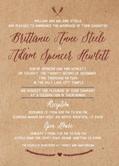 Brittanie and Adam 5x7 front Wedding Invitations