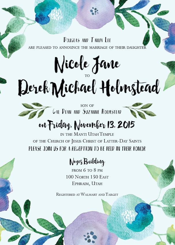 Nicole and Derek Front wedding announcements