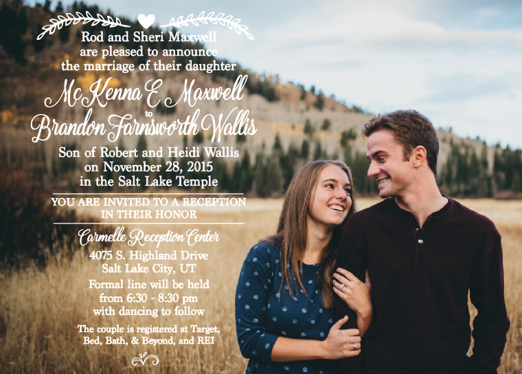 Mackenna and Brandon 5x7 front wedding invitations