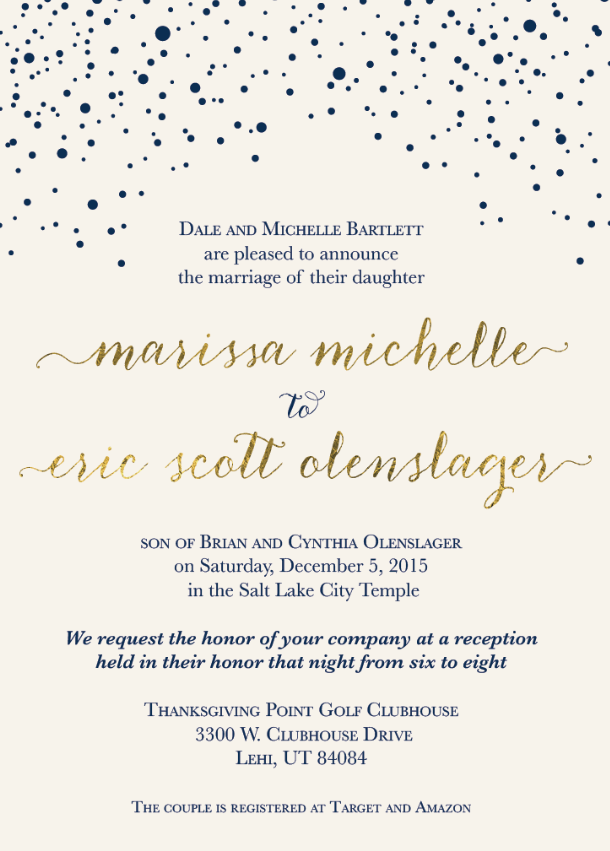 Marissa and Eric Front wedding invitations
