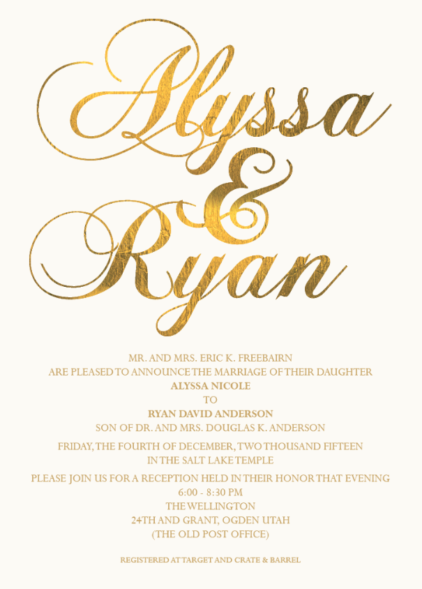 Alyssa and Ryan Front Wedding Invitations