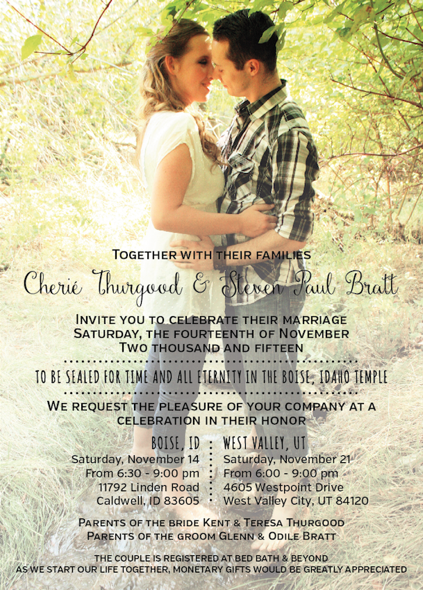 Cherie and Steven front wedding invitations