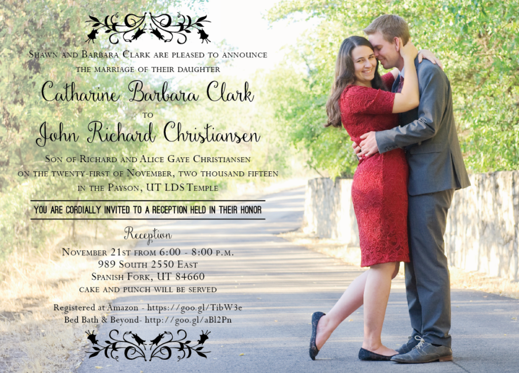 Catharine and John Front wedding invitations