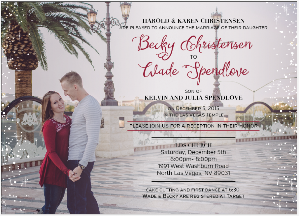 Becky and Wade Front wedding invitations