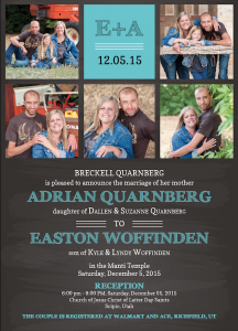 Adrian and Easton Front wedding invitation