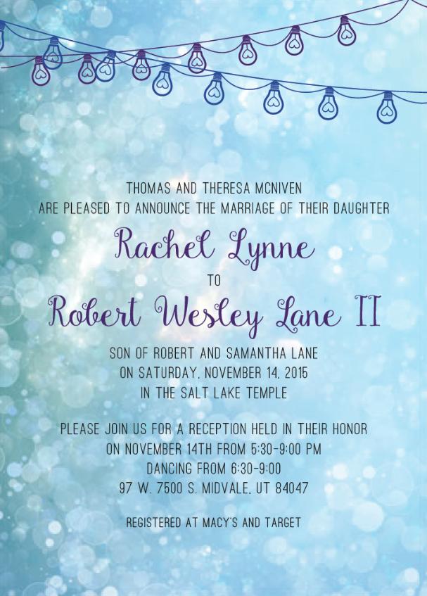 Rachel and Robert front Wedding Invites