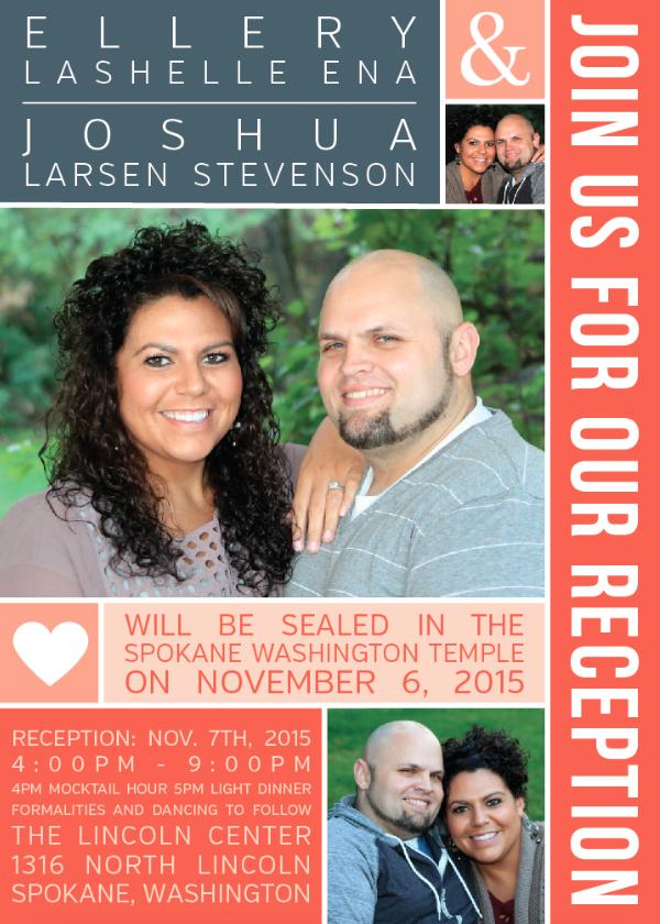 Ellery and Joshua Front wedding invitations