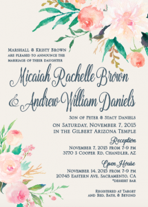 Micaiah and Andrew invite front Wedding Invitations