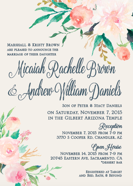 Micaiah and Andrew invite front wedding invites