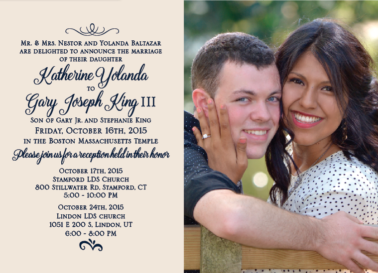 Katherine and Gary 5x7 front wedding invitations