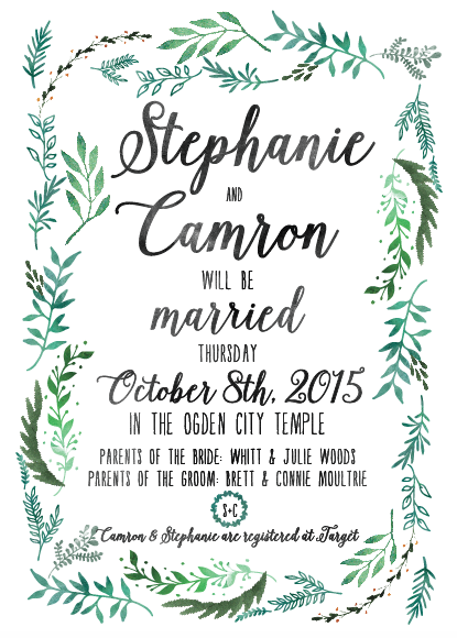 Stephanie and Camron 5x7 front wedding invitation
