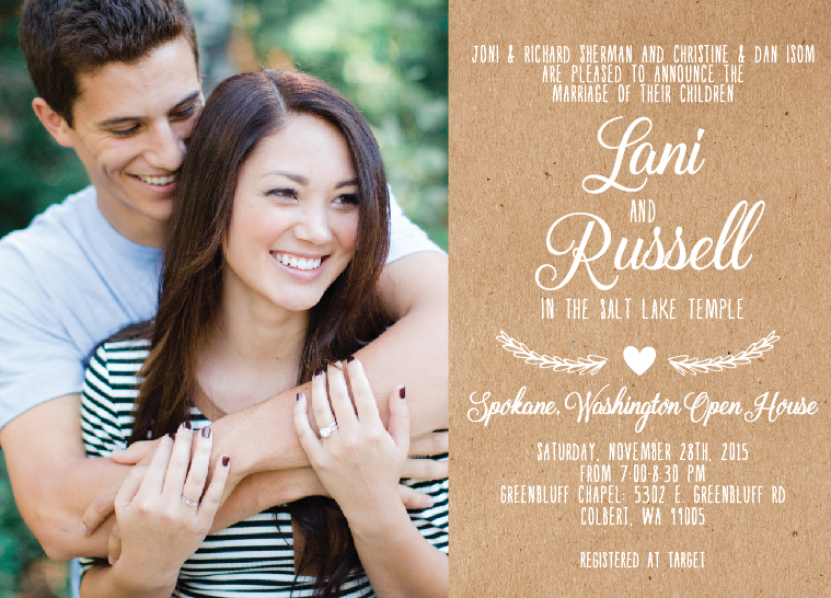 Lani and Russell 5x7 front wedding invites
