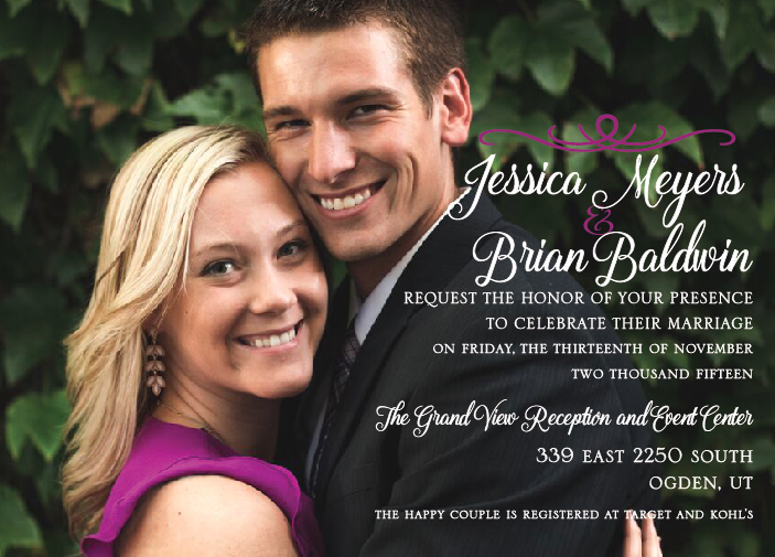 Jessica and Brian 5x7 front wedding invitations