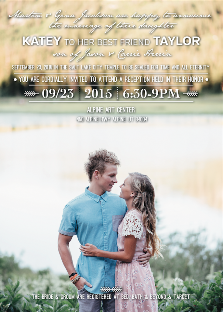 Katey and Taylor Front wedding invitations