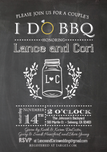 Cori and Lance invite front Wedding Invitations