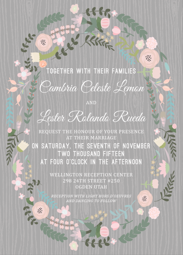 Cambria and Lester Front wedding invitations