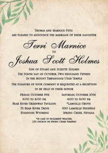 Terri and Joshua Front Wedding Invitations