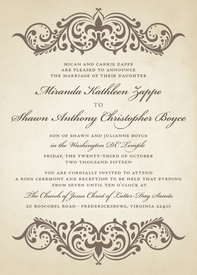 Utah Wedding Announcemnets