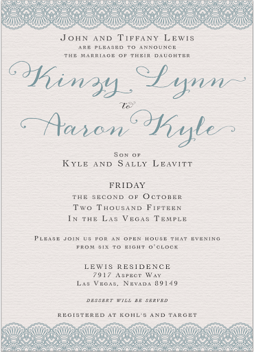 Kinzy and Aaron Front Wedding Invitations