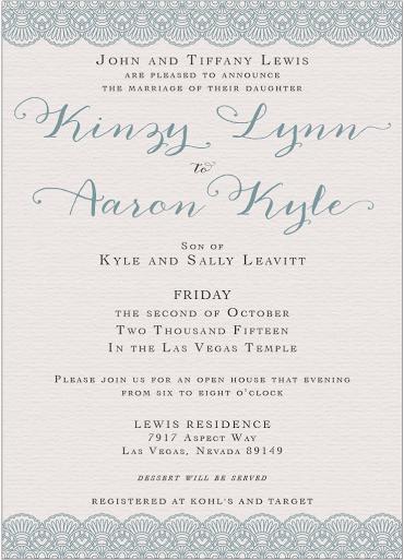 Kinzy and Aaron Front wedding invites