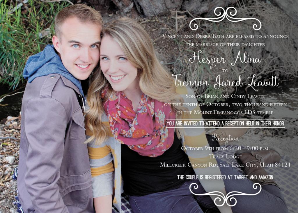 Hesper and Trennon Front wedding invites