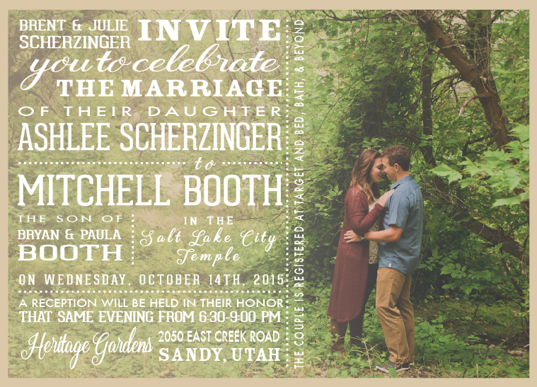 Ashlee and Mitchell invite front wedding invitations