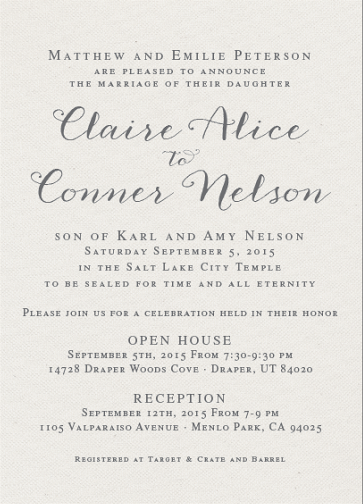 Claire and Conner Front Wedding Invitations