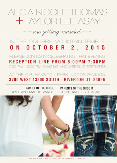 Taylor and Ali Front wedding invitations