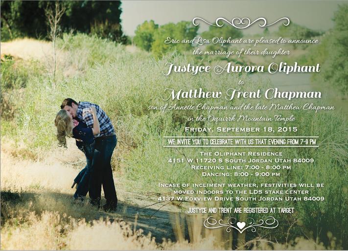 Justyce Oliphant Front wedding invitations
