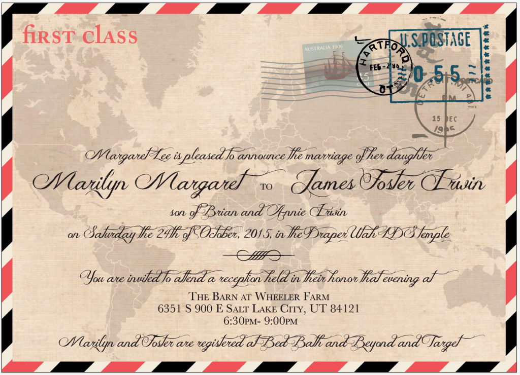 Marilyn and Foster Front wedding invites