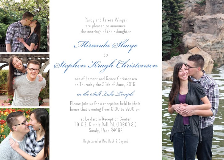 Miranda and Stephen Front wedding invitations