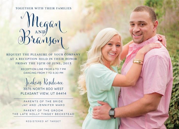 Megan and Branson Front wedding invites