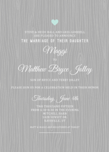 Maggie and Matthew Front Wedding Invitations