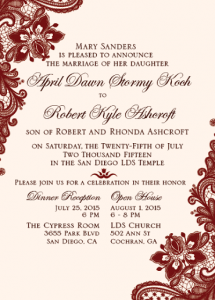 April and Kyle Front Wedding Invitations