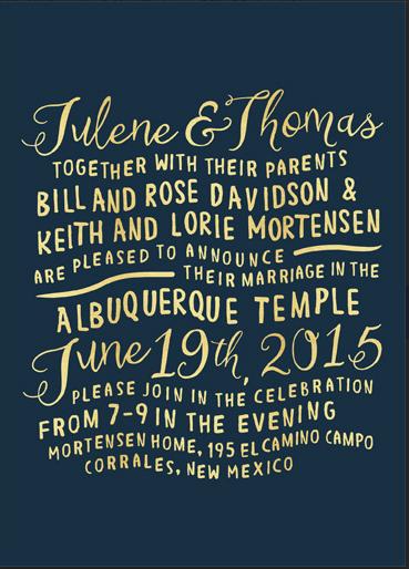 Julene and Thomas Front wedding invitations