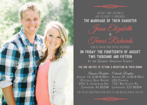 Jessa and Trevor Front Wedding Announcements
