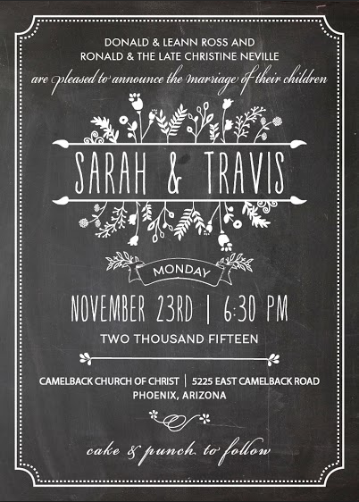 Sarah and Travis Front Wedding Invitations
