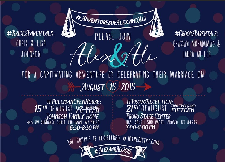 Alex and Ali Front Wedding Invitations