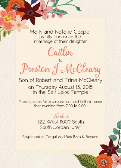 Caitlin and Preston Front Wedding Invitations