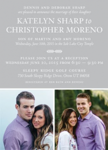 Katelyn and Christopher Front Wedding Invitations