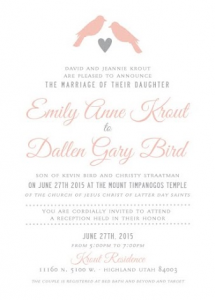 Emily and Dallen Front Wedding Invitations